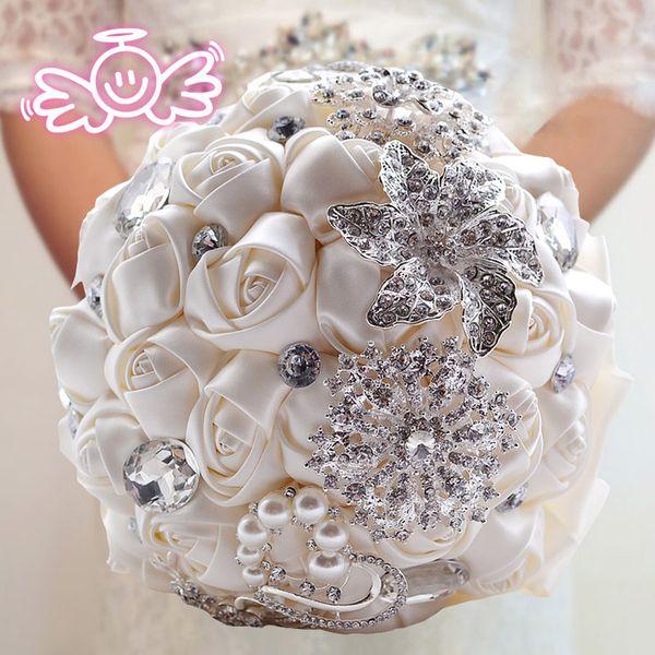 Luxury Handmade Rose Pearls & Diamonds Bride Holding Flower Wedding ...