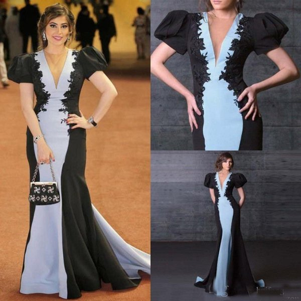 Black And Blue Mermaid Formal Evening Dresses Red Carpet Outfit With Lantern Short Sleeves Floor Length Custom Runway Gown