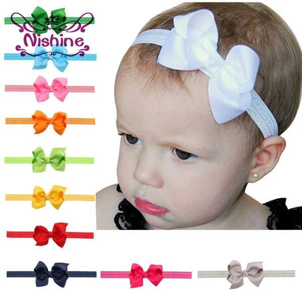 Nishine 3.2inch Baby Elastic Headbands Soft Ribbon Bow Headband Girl Bows Headband Hair Bands Kids Turban Bowknot Head Wrap 20 Colors