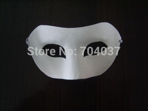 Großhandels- (100 PC / Los) Halbgesichts-einfaches weißes Farbpapier mit elastischen verschiedenen Entwurfs-leeren Karikatur-Masken