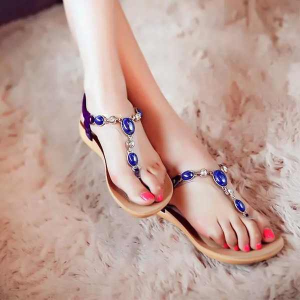 Women Summer Diamond Gem Sandals Comfortable Massage slippers womens Flats Keel Beaded Shoes Ladies Flip flops 5-10 US