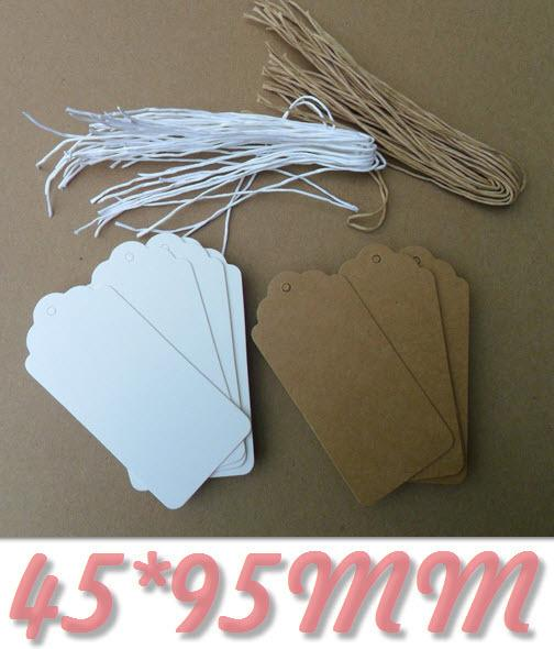 45x95MM Scallop Kraft Paper Tag With String DIY Blank Hang Tag Packaging Labels Retro Gift Tags Table Number Cards 6000pcs