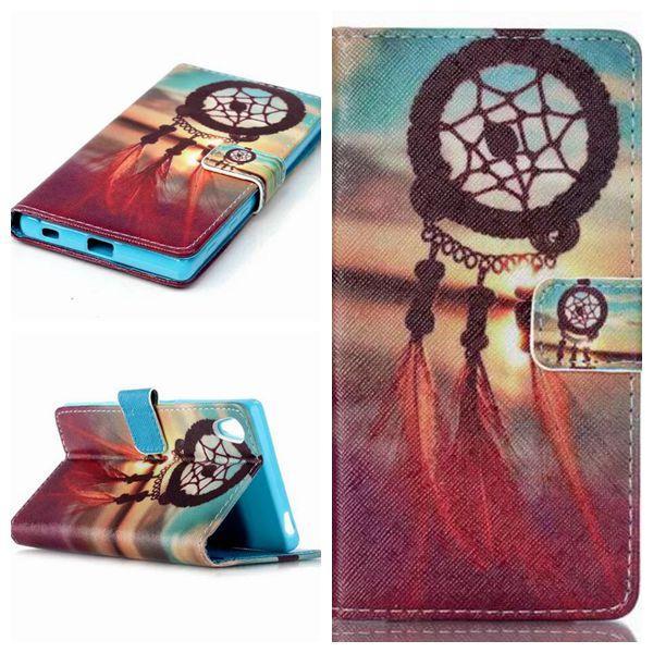 Цветок бумажник флип кожаный чехол для Sony Xperia Z5 компактный Z5 мини M4 AQUA Эйфелева башня волна слон чехол