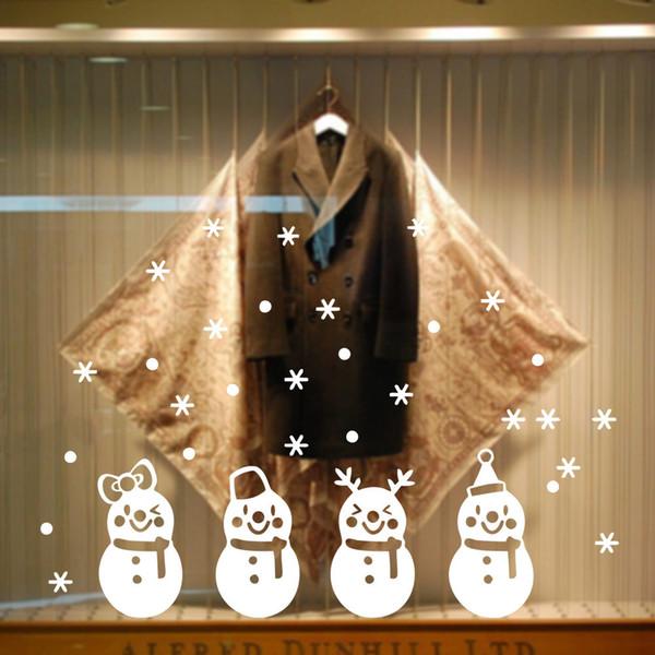 Snowman Frozen Snowflake Showcase Decoration Christmas Window Glass Sticker Xmas Party Decoration Store Wallpaper 2017 cute