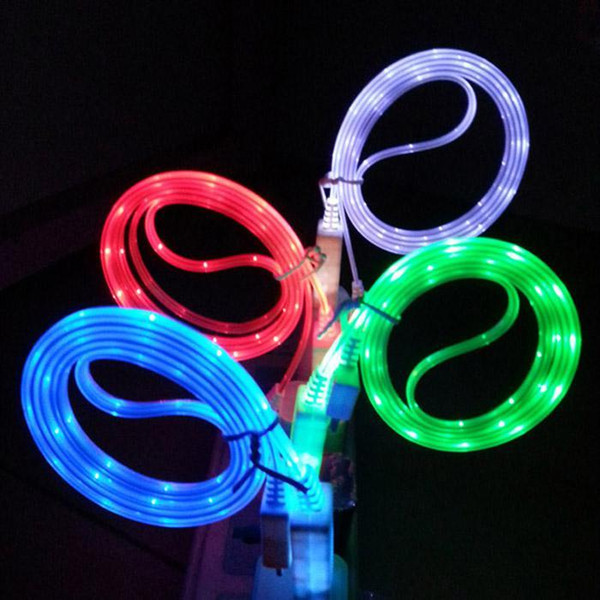 Sichtbares LED-Licht USB-Kabel 1M / 3FT Flat Noodle Flashing Lighting Kabel Ladekabel für Samsung Galaxy S4 S6 S7 Hinweis 4 5 6 7 HTC Phones