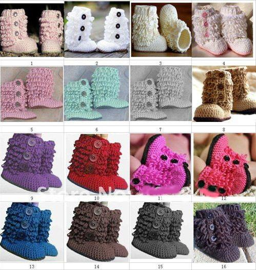 Free Shipping crochet baby girls knitted prewalker shoes autumn winter newborn kids snow booties first walker shoes loops design cotton yarn