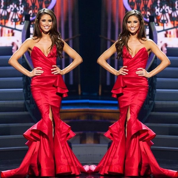 Red Ruched Sweetheart Mermaid Long Formal Evening Dresses No Sleeve Sexy Party Prom Dress Pageant Gowns Celebrity Dress Chic Hot Sale