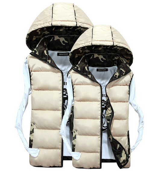 2015 New Men and Women Couple Models Jacket Down Cotton Waistcoat Vest Fashion Casual Camouflage Thick Cardigan Mens Vest Coats for Lovers