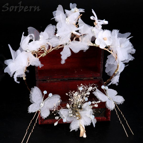 Elegant Butterfly Fabric Headpiece Headband Wedding Accessories Wedding Hair Accessories Pins Set Bridal Headband High Quality