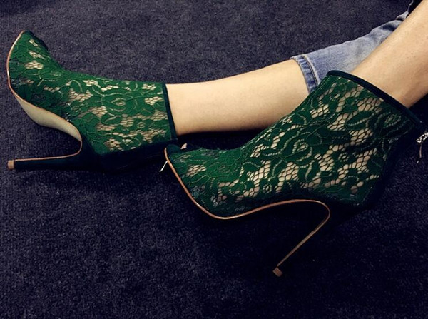 2017 fashion gladiator women shoes green lace boots peep toe high-heeled booties sexy spring zip shoes women for party