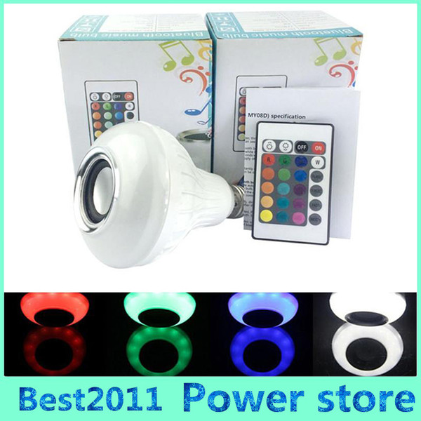 best selling E27 LED Bulbs Wireless Bluetooth 6W LED Speaker Bulb RGBW Music Playing Lighting With 24 Keys IR Remote Control