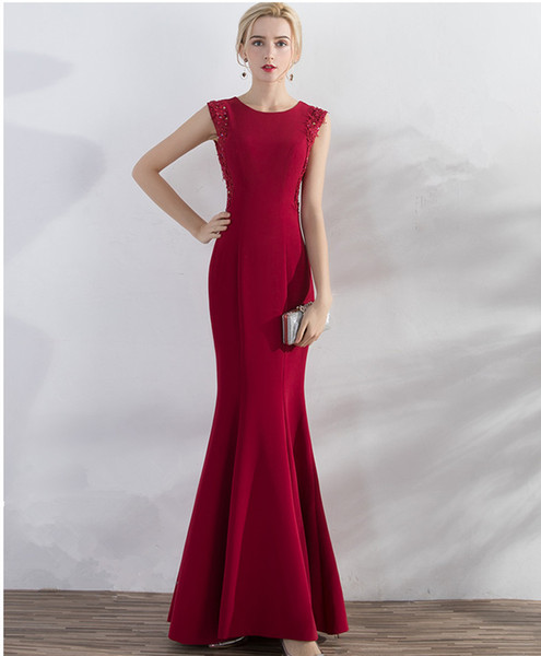 best selling Jewel Neck Satin Mermaid Evening Dresses With Appliques 2019 Burgundy Evening Gowns Long Formal Dresses Floor Length