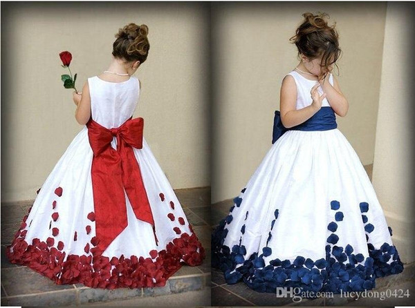 top popular Flower Girl Dresses With Red And White Bow Knot Rose Taffeta Ball Gown Jewel Neckline Little Girl Party Pageant Gowns Fall New 2021