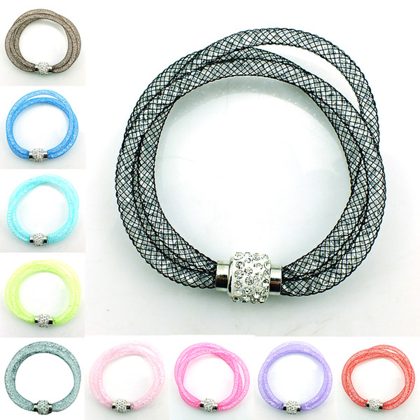 Free Shipping Newly Link Bracelets Crystal Mesh Magnetic Clasp Multilayer Infinity Mens Chain Bracelets Bangles Jewelry