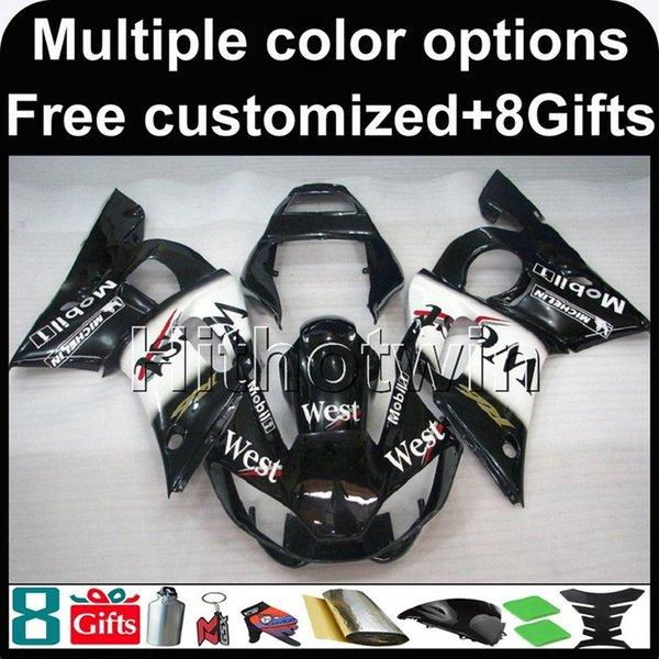 23colors + 8Gifts Cubierta de motocicleta WEST BLACK para Yamaha YZF-R6 1998-2002 98 99 00 01 02 YZFR6 1998 1999 2000 2001 2002 Carenado de plástico ABS