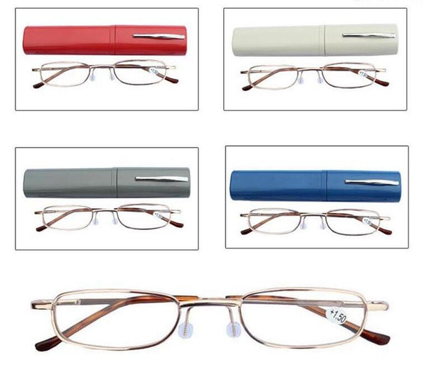 top popular Reading Glasses Pen Case Colors Aluminum Tube Unisex Eyeglasses Folding Portable Presbyopia glasses with box Free Shipping 2021