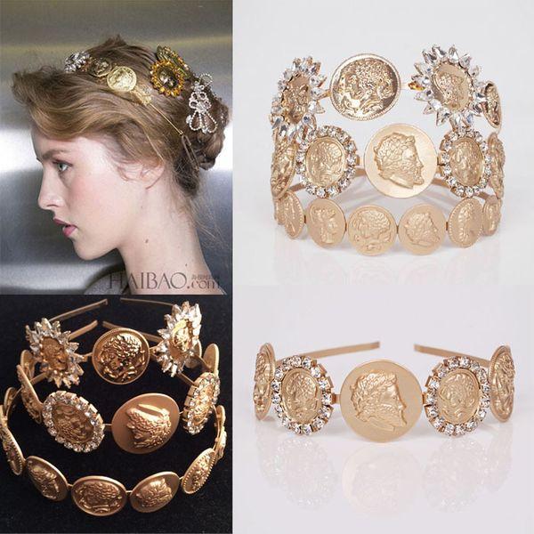 Al por mayor-Alta calidad de moda Barroca cabeza humana hairbands lujo Crystal Coin diademas para mujeres accesorio para el pelo de la boda