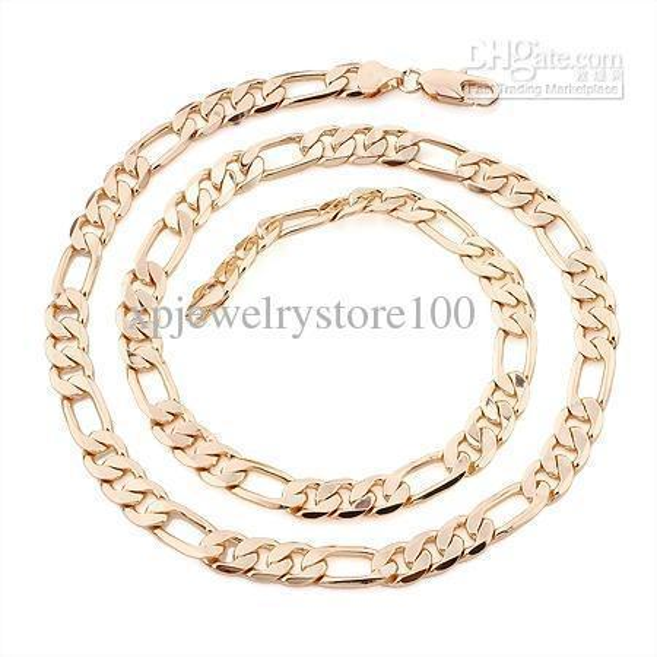 Envío rápido gratuito Collar de oro amarillo fino de la joyería Precio más bajo Collar de oro amarillo 18k relleno de los hombres 23. Cadena Figaro de 11 mm de ancho