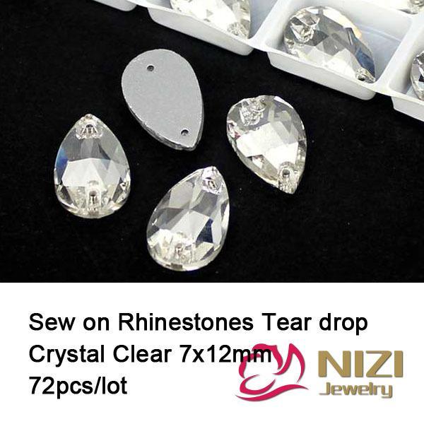 Gros-Strass 7x12mm 72 pcs verre cristal clair Flatback strass larme goutte à coudre sur strass cristal et pierres pour la robe