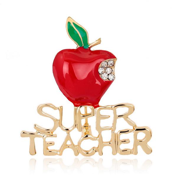 Iğneler Takı Yeni Kırmızı Süper Öğretmen Xmas Hediye Unisex ile Kristal Broş Pin Göstermek Aşk Yaka Apple Mektup Pin öğretmenlerin günü hediyesi