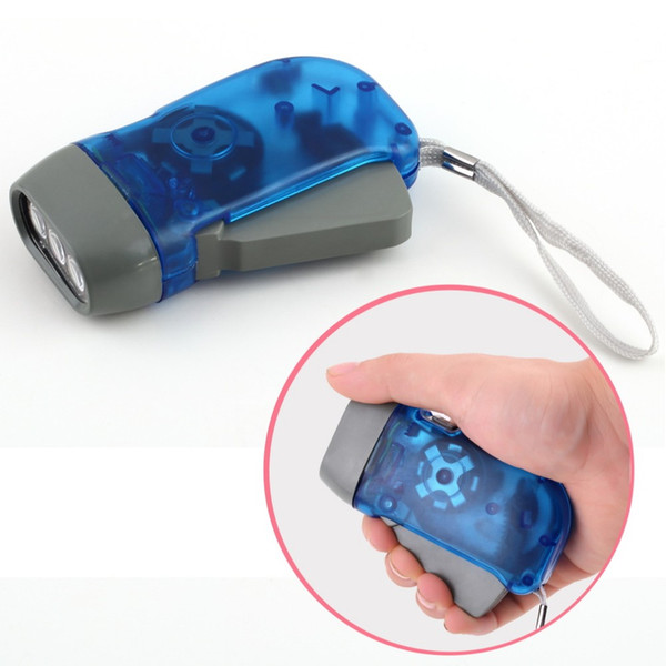 best selling New Arrival Free Shipping protable 3 LED Dynamo Wind Up Flashlight Torch Light Hand Press Crank NR Camping