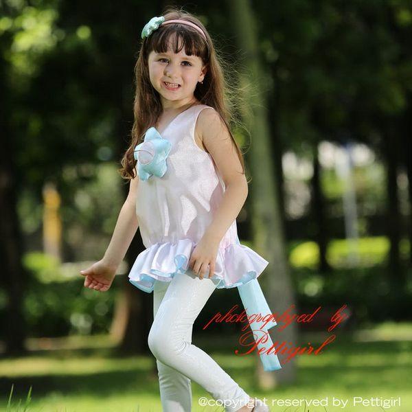 Pettigirl Nova Moda Meninas Flor Top E Leggings 2 pcs Conjuntos de Roupas Para Atacado Roupas Crianças CS80630-9