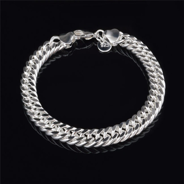 top popular 2015 New Design 6MM 8MM 10MM 925 Sterling silver Figaro chain bracelet Fashion Men's Jewelry Top quality free shipping 2019