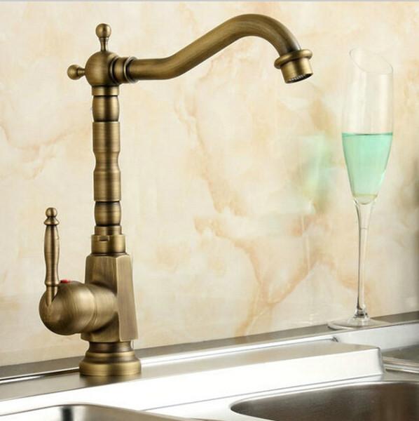 Antique Brass Kitchen Faucet Swivel Bathroom Basin Sink Mixer Tap Crane bronze antique wash basin single hole faucet A-F011