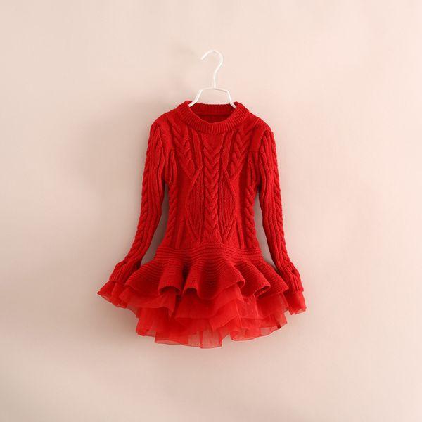best selling Spring Full sweater girls lace gauze knitting sweater kids falbala long sleeve sweater dress children knitted splicing lace falbala dress