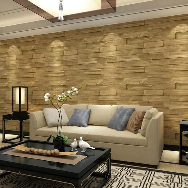 Großhandel Im Chinesischen Stil Holzimitation Brick Vinyl Exfoliator Tapete  3D PVC Waschbar Geprägte Wandverkleidung Küche Wohnzimmer Dekor Von ...