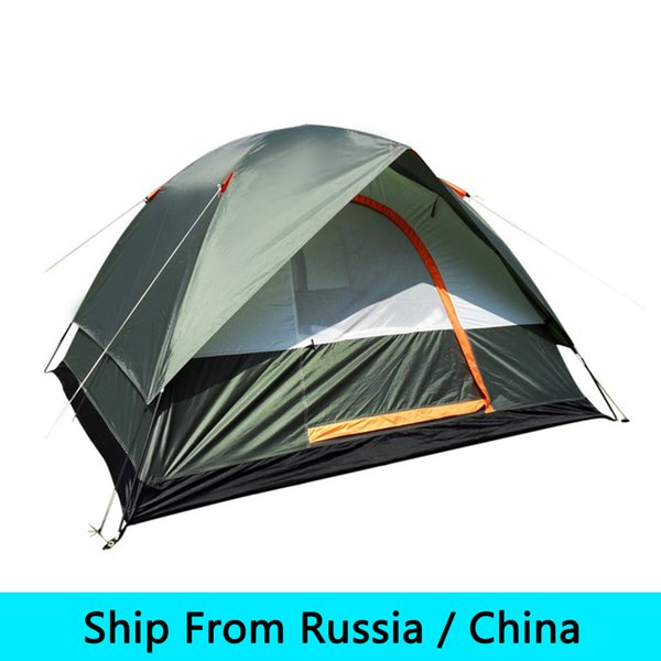 Wholesale- 4 Peoples Waterproof Outdoor Camping Hiking Polyester Oxford Cloth Dual Layers Tent Travel Tent Drop Shipping