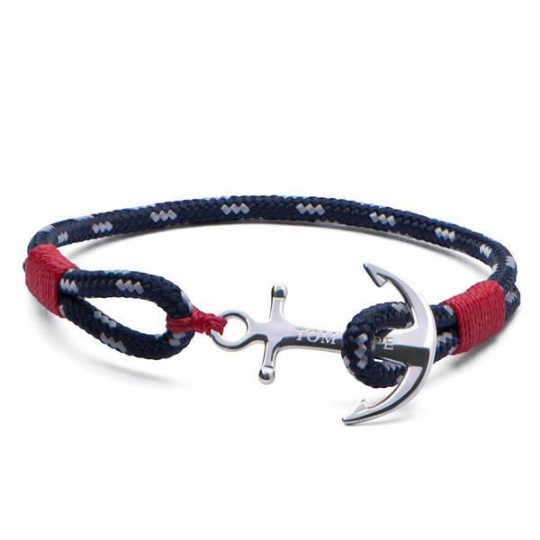 1 pcs pulseira TOM ESPERANÇA Atlântico fio vermelho pulseira de Aço Inoxidável Cadeia de Âncora Charm Bracelet com caixa e tag TH1
