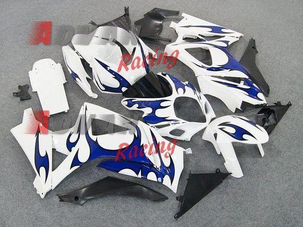 Beyaz Mavi Enjeksiyonlu Kaplamalar Kaporta kiti Suzuki GSXR1000 2007-2008 OEM 37