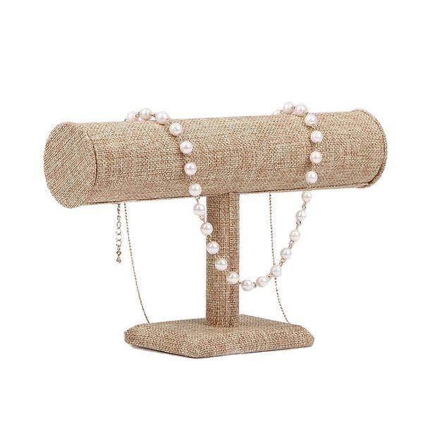 top popular New Top Grade Burlap Wooden Necklace Bracelet Jewelry Display Stand Holder Linen Bangle Holder Single-Layer 2021