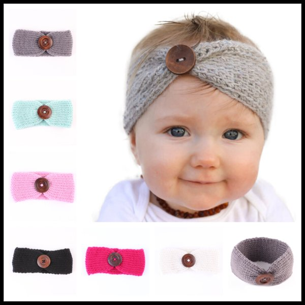 Fashion Wool Crochet Headband 6 Colors Knit Hairband With Button Infant Headband Newborn Birthday Party Gifts Photography Props