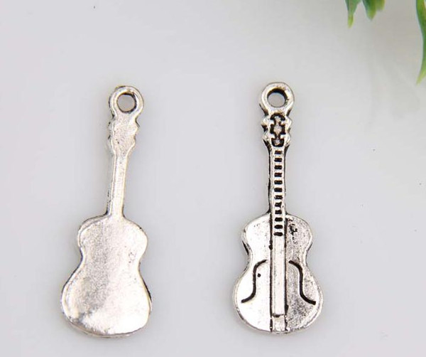 Caliente ! 150 unids Antiqued aleación de plata de la guitarra del encanto de la joyería DIY 27 x 10 mm (380)