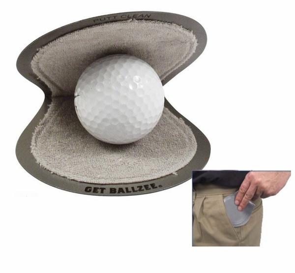 best selling Best Seller Brand New Ballzee - Pocker Golf Ball Cleaner Terry Lined Plastic Wet Inside Dry in Pocket Grey