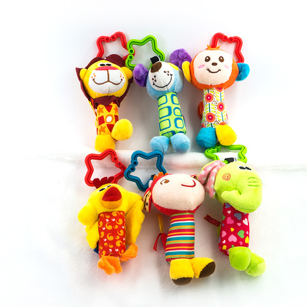 Baby Toys 0-12 Months 6 Style Cartoon Animal Plush Stuffed Musical Rattles Doll Teether Hanging Strollers Kids Toys for Newborns