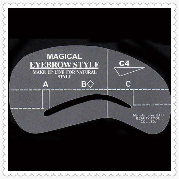 Wholesale- Eyebrow stencils C4 plastic eyebrow stencil reusable eyebrows drawing guide card hot sell make up items freeshipping