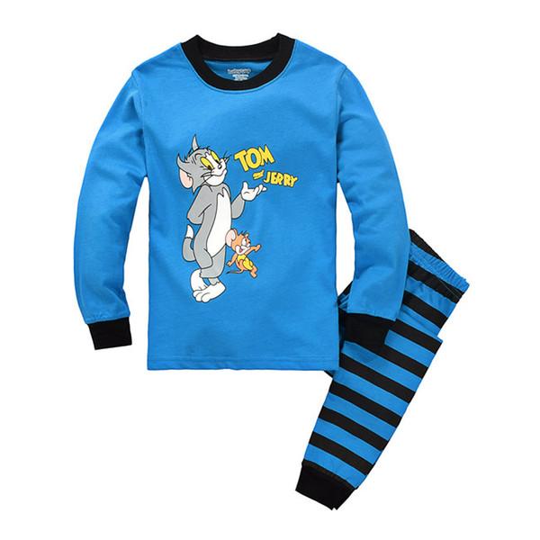 Boys Pajamas Tom Jerry Longe Sleeve T-shirt Cartoon Clothes 2 Set Autumn Winter 2 Pieces Sleepwear Cute Baby Home Clothing For Chrildren