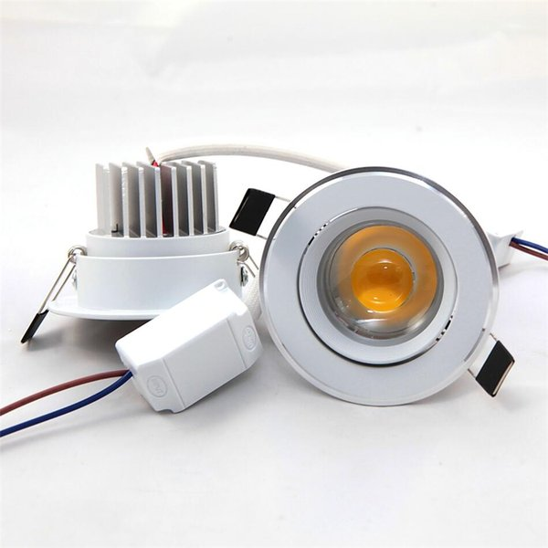 Brand New COB 10W Led Recessed Downlight 110-240V Dimmable Warm/Pure/Cool White Led Ceiling Lights 120 Angle 1000Lumens CRI>85 + CE