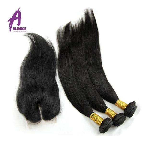 Virgin Brazilian Straight Hair With Closure 4 Bundles Brazilian Hair With Closure beautiful star Straight Human Hair Bundles With Closure