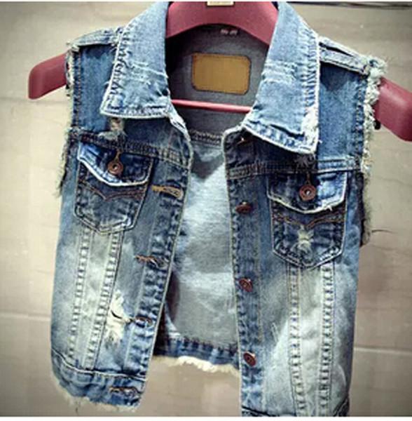 Al por mayor-2015 La más nueva moda Jean Chaleco de las mujeres de la vendimia solo agujero de pecho chaqueta corta Outwear sin mangas de mezclilla Tops más el tamaño