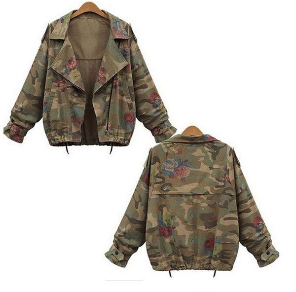 Toptan-Yeni Sonbahar Kış Ordu Yeşil Kamuflaj Kadın Ceketler Çiçek Baskılı Fermuar Kot Palto Kadın Denim Cardigans