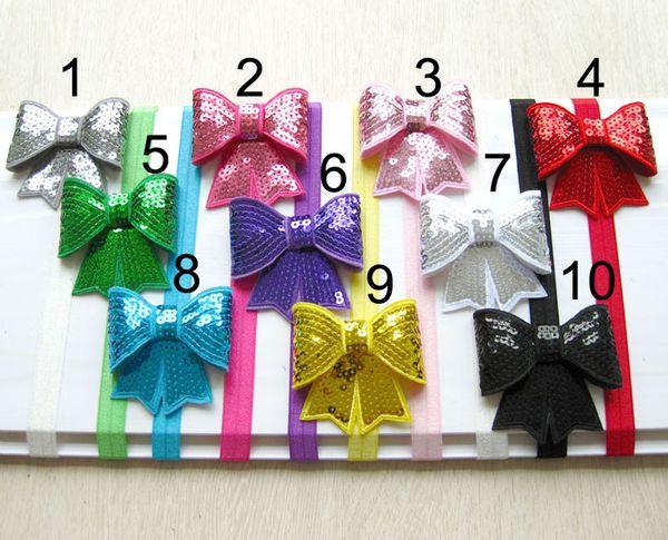 embroidery sequins bowknot baby hair bows hair band Baby Girl pin wheel ribbon Bow Boutique bows Hair band girl hair accessories D675J