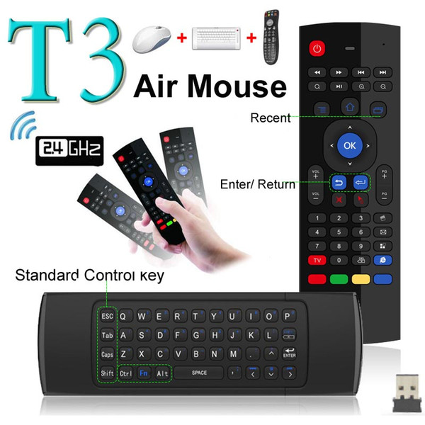 Nuovo arrivo 2.4 GHz RF 2.4G Fly Air Mouse T3 Wireless Handheld Qwerty tastiera Combo a distanza per PC Android TV Box HTPC