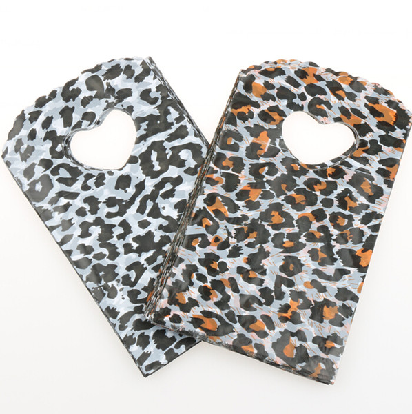 best selling 200pcs lot 2Colors 15X9cm Heart and Leopard Patterns Plastic Bags Jewelry Gift Bag Jewelry Pouches Bags Packaging