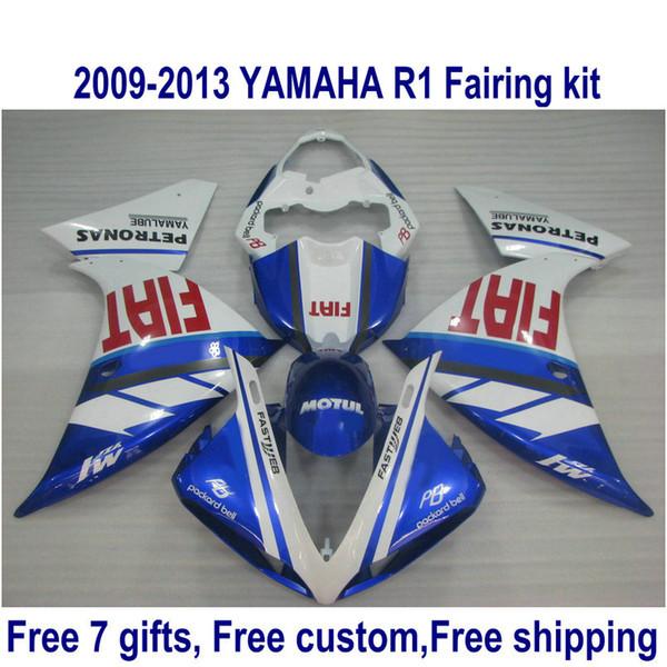 7 free gifts plastic fairing kit for YAMAHA R1 2009-2011 2012 2013 blue white bodykits YZF R1 fairings set 09-13 HA6