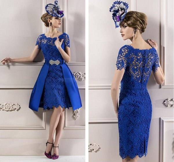 2016 Lace Azul Vestidos de Noite com Mangas Curtas Tripulação Pescoço Na Altura Do Joelho Mãe do Noivo Vestidos Destacáveis Saia Vestidos de Cocktail
