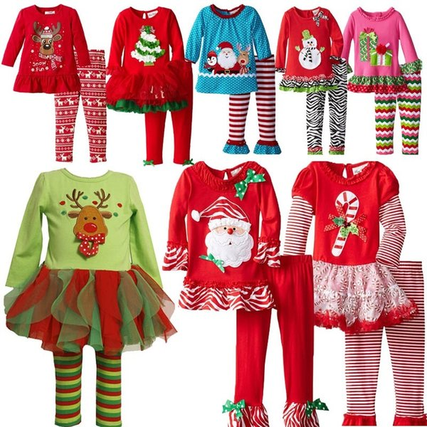 girls christmas clothing sets baby santa claus outfit elk clothing snowman christmas tree Cartoon outfits christmas 2pc set free shipping